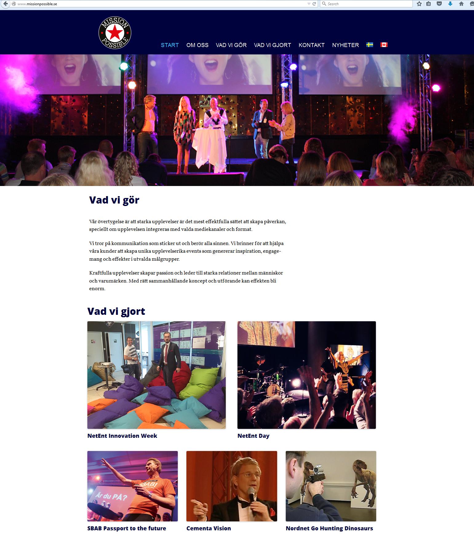 Mission Possibles nya hemsida